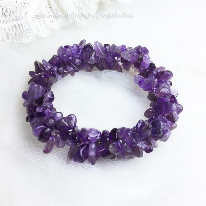 天然草莓晶紫水晶编织手链石榴石多层碎石手串招财转运饰品礼物女