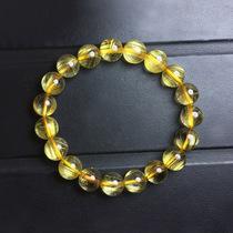 专柜正品天然金发晶手链 黄发晶钛晶手串 招财开运男女款饰品礼物