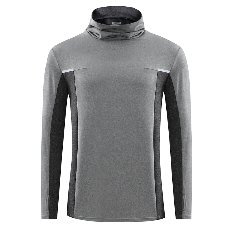 Pullover long sleeve t-shirt mens high neck top loose sports sweater fitness suit middle-aged mens lbs9815-p70