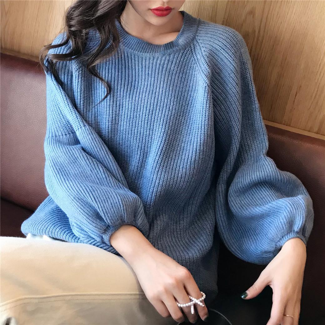 初秋毛衣针织圆领多色女装典雅OL休闲韩版灯笼袖短款宽松时尚显瘦
