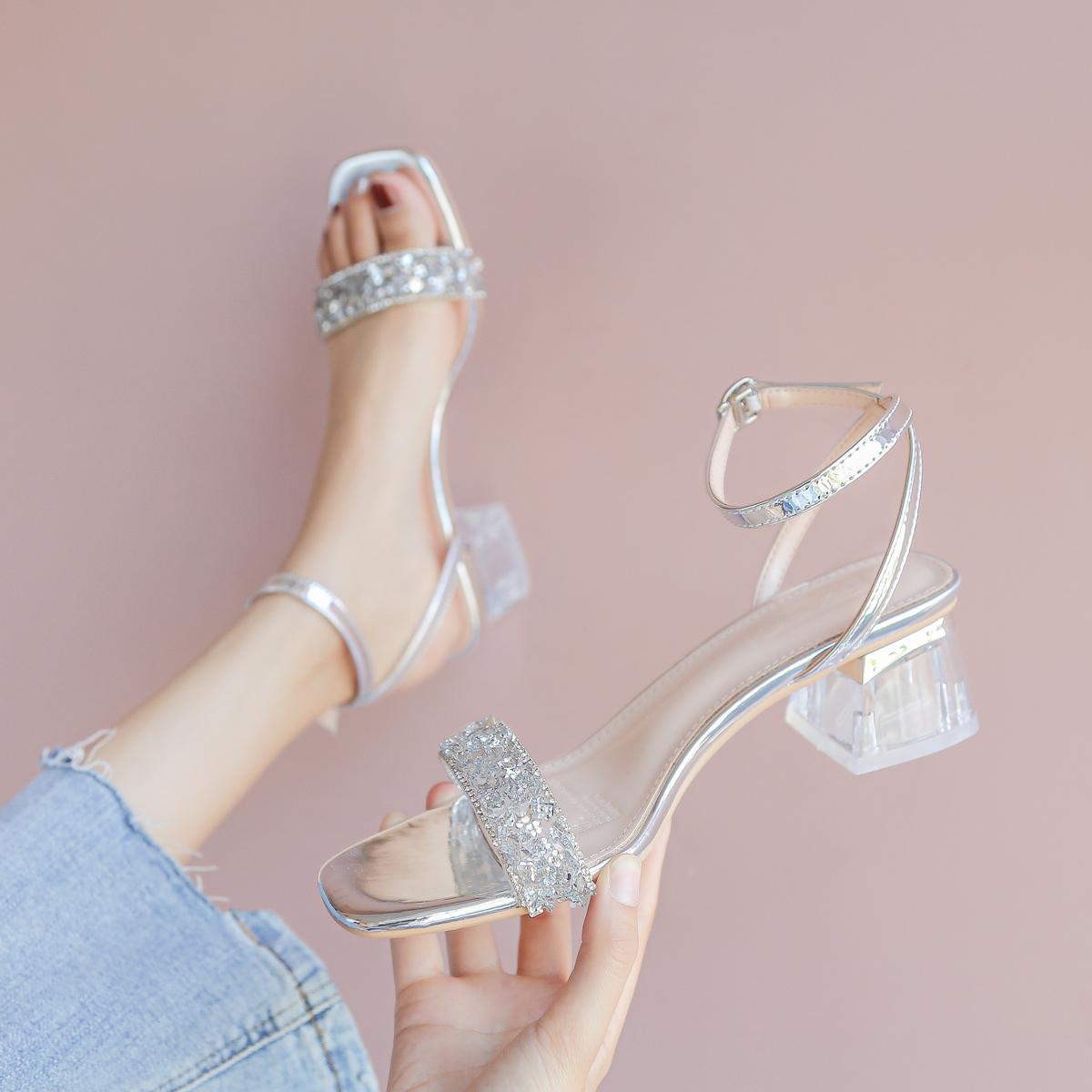 【福利价 89元】凉鞋女2020夏季新款ins水钻网红仙女风粗跟高跟鞋