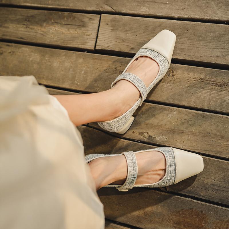 粗跟单鞋女2020新款浅口仙女温柔中跟休闲鞋女一脚蹬百搭玛丽珍鞋