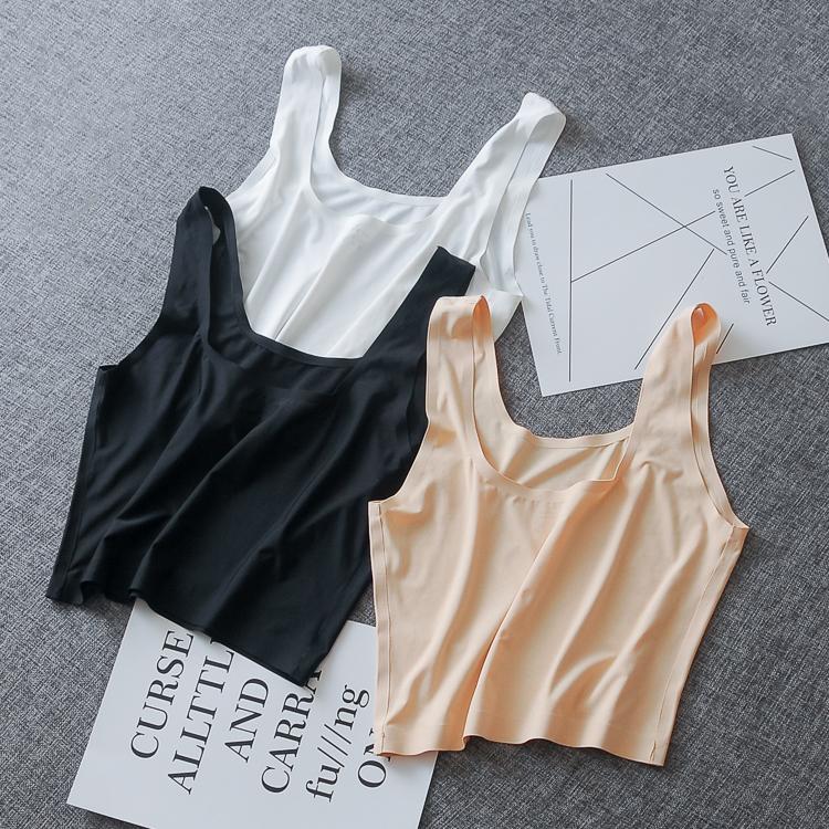 夏季白色少女一片式冰丝黑色裹胸(用5元券)