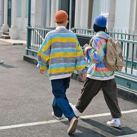 倔强兔彩虹条纹POLO衫长袖男女同款彩色OVERSIZE宽松复古情侣上衣