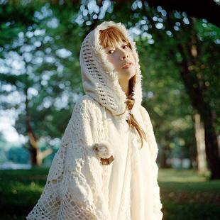 云分子森系日系温柔镂空流苏奶色白针织衫套头连帽斗篷