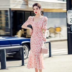 YF53960# 鱼尾雪纺显瘦粉色收腰修身连衣裙气质绑带 服装批发女装直播货源