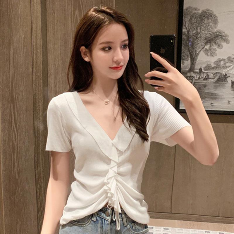 2021夏新款韓版小心機抽繩氣質V領冰絲針織衫女短袖白色短款上衣