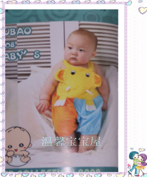Xubao elephant modeling clothes for boys and girls, summer jumpsuit, creeping suit, cotton khaki jumpsuit, sleeveless childrens wear