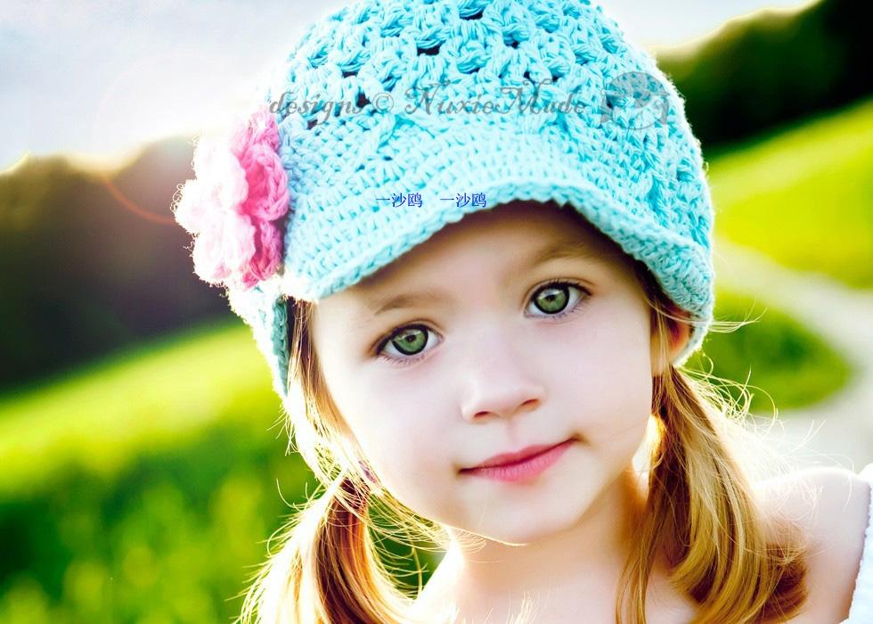 Хлопок короткие полями шляпа ручной вязки цветок девочек Studio сфотографировали цветы Голубой Hat пропеллер шляпа
