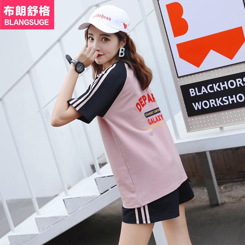 运动风套装女夏2020新款韩版时尚学生短袖短裤休闲服两件套慵懒风