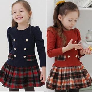 Z ребенка картридж девочек с длинным рукавом платье 2015 весна новая Корейская торговая девушка платье принцессы 3-8 b
