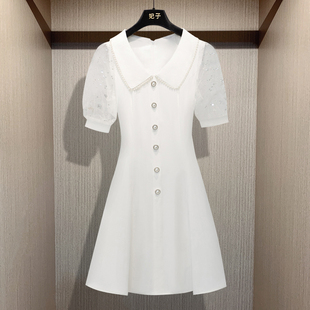 妃子 轻奢气质收腰显瘦泡泡袖 新款 小香名媛风连衣裙2020夏季 裙子