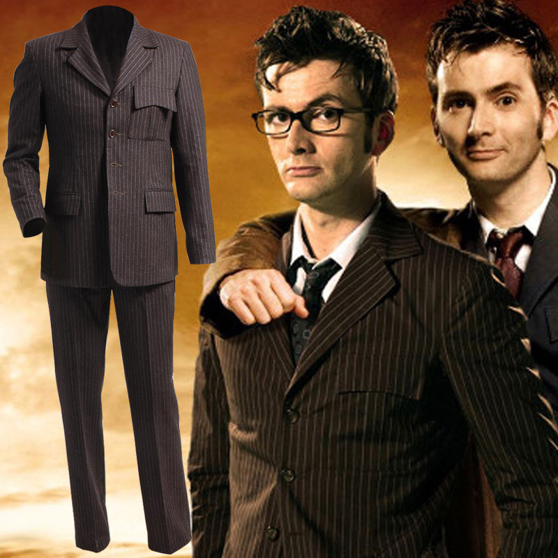 Doctor who striped wool / chemical fiber mens suit cos suit Cosplay clothing