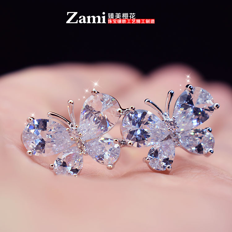 Japan and South Korea hair accessories headwear fashion accessories zircon oxide double butterfly hairpin small side clip banger clip