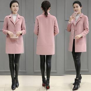 2019春季新款女装韩版呢子大衣外套女时尚修身中长款毛呢外套女春