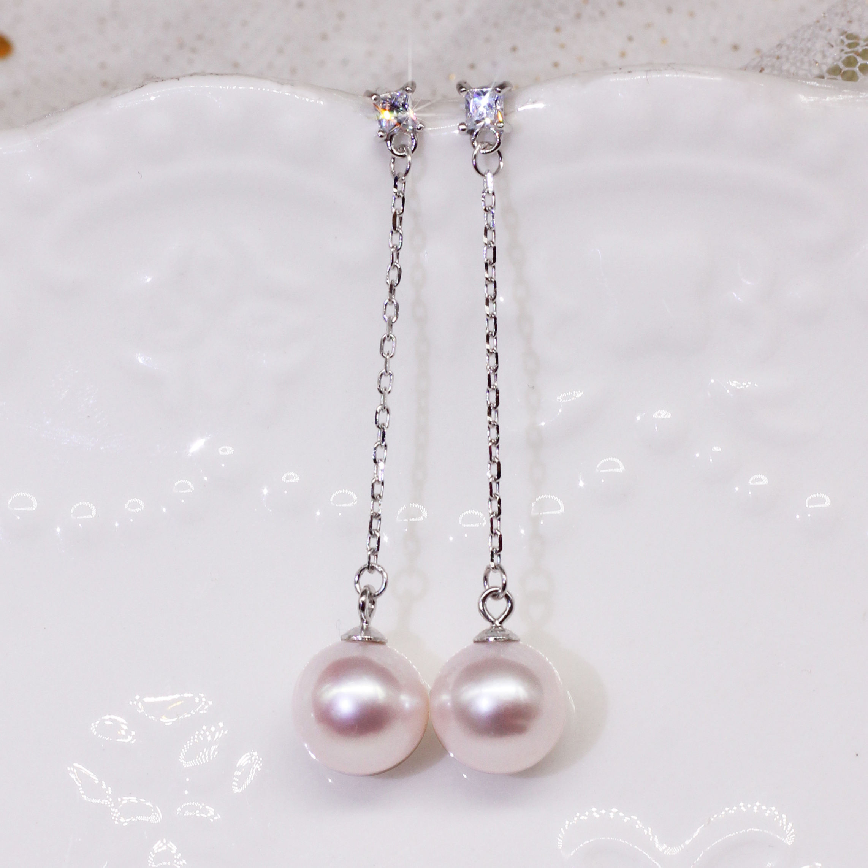 天然淡水925纯银珍珠耳环女耳坠z长款女超大颗气质名媛防过敏带钻