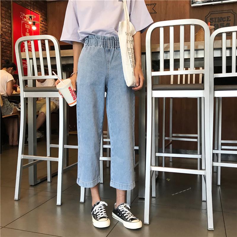春裝顯瘦牛仔褲女九分褲直筒褲闊腿褲鬆緊腰花苞復古高腰顯瘦長褲