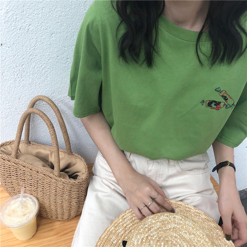 夏季新款韩版chic学生简约可爱糖果宽松圆领短袖T恤女装上衣韩范