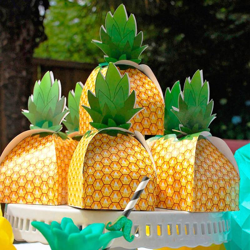 5个可爱创意菠萝纸盒儿童节生日派对礼品盒蛋糕糖果曲奇烘焙包装