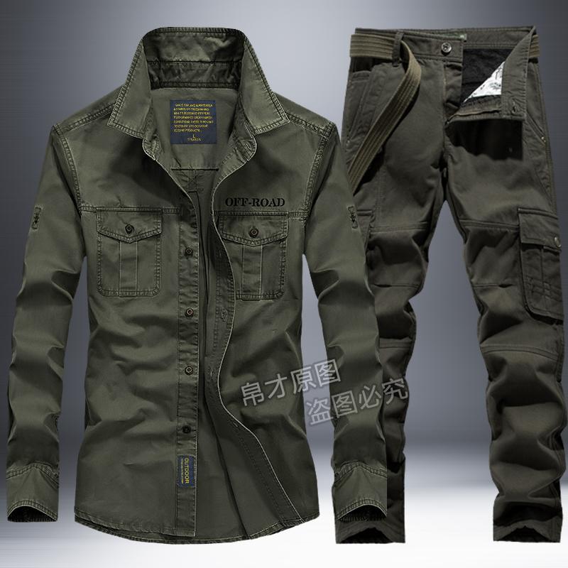春秋季作業服スーツ男性アウトドア綿多ポケット耐磨耗工が野戦作業服の軍服を装う