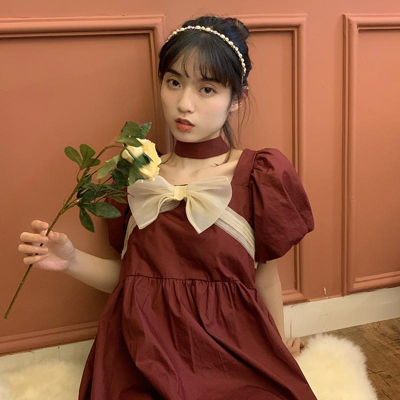 《缇香》红色方领法式复古连衣裙女初恋甜美桔梗小众泡泡袖公主裙