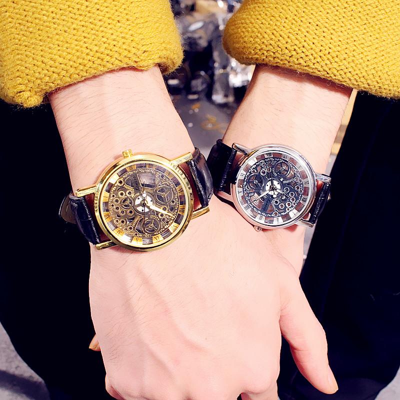 手表时尚潮流装饰品个性时装女士日韩版土豪金表潮表皮带镂空男表