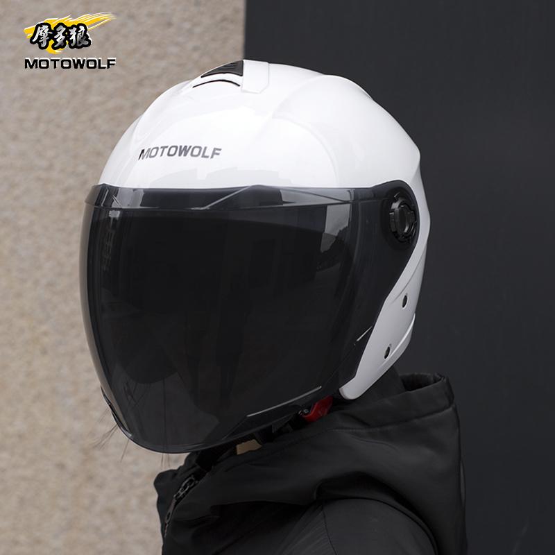 摩托車頭盔夏季防寒防曬半盔四季電動車雙鏡片安全帽輕便機車裝備