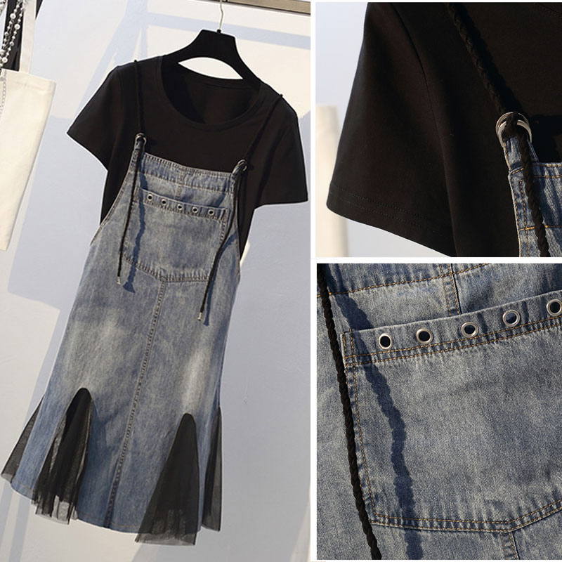 大码女装洋气减龄套装2019夏微胖妹妹遮肚子显瘦牛仔连衣裙两件套