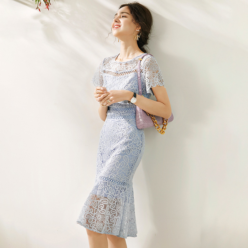 Fishtail dress 2020 summer new French Style Sexy and slim waisted round neck with hollow lace and elegant Ruffle