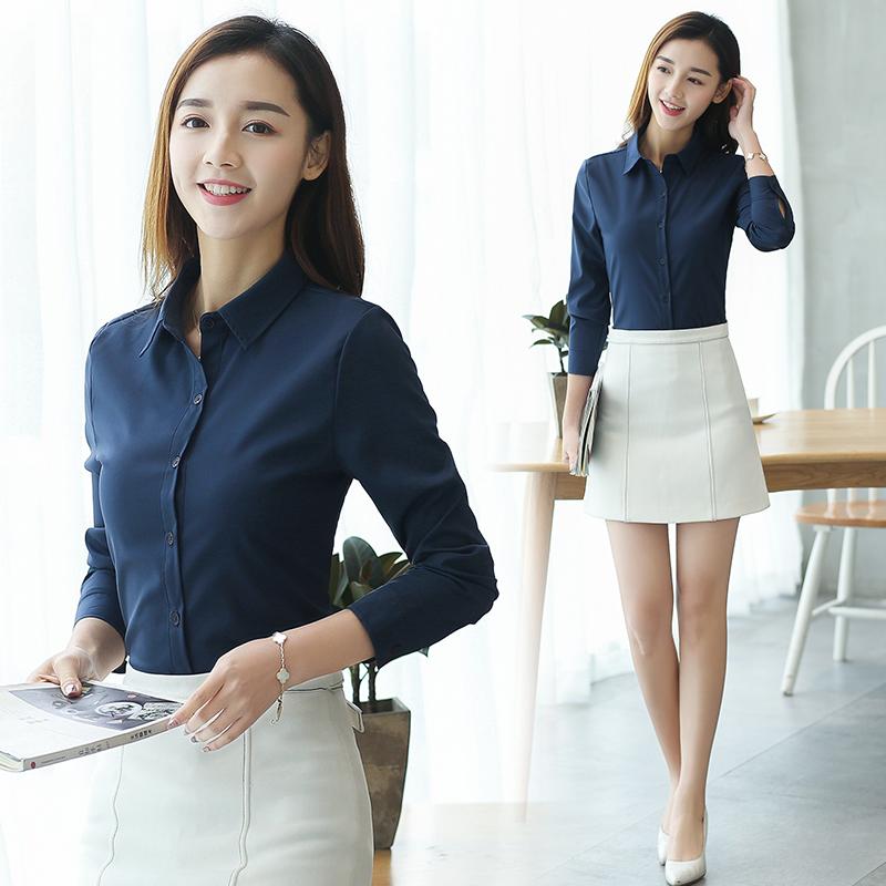2019韩版新款职业正装工作服雪纺衬衫女长袖上衣宽松休闲衬衣黑红