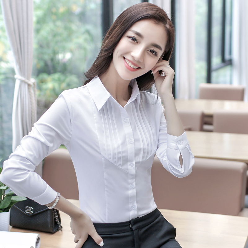 2019春秋女装白衬衫 女长袖职业正装修身款韩范衫大码上衣工作服图片
