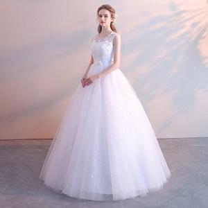 婚纱礼服2019新款韩版新娘结婚齐地公主简约孕妇高腰大码修身显瘦
