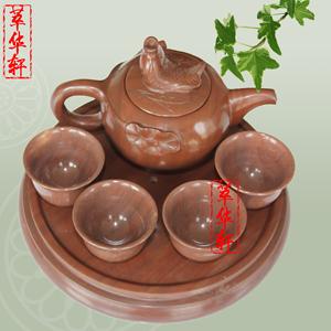 萃华轩木鱼石鱼壶茶具套装保健茶壶杯子茶杯非麦饭石正品特惠直销