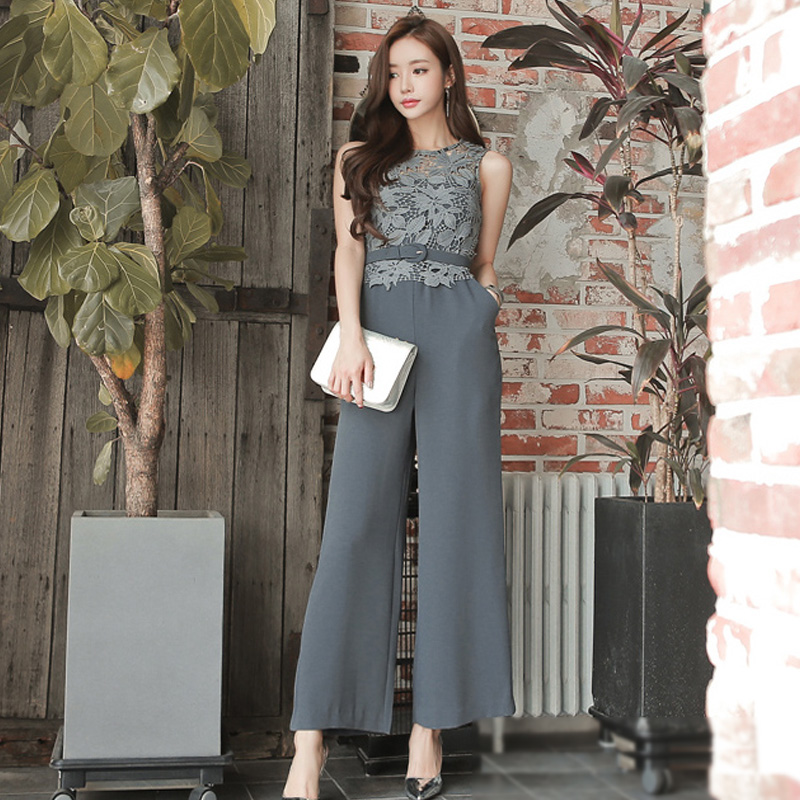 Womens Jumpsuit 2020 summer new style Jumpsuit slim and lace embroidered High Waist Wide Leg Jumpsuit