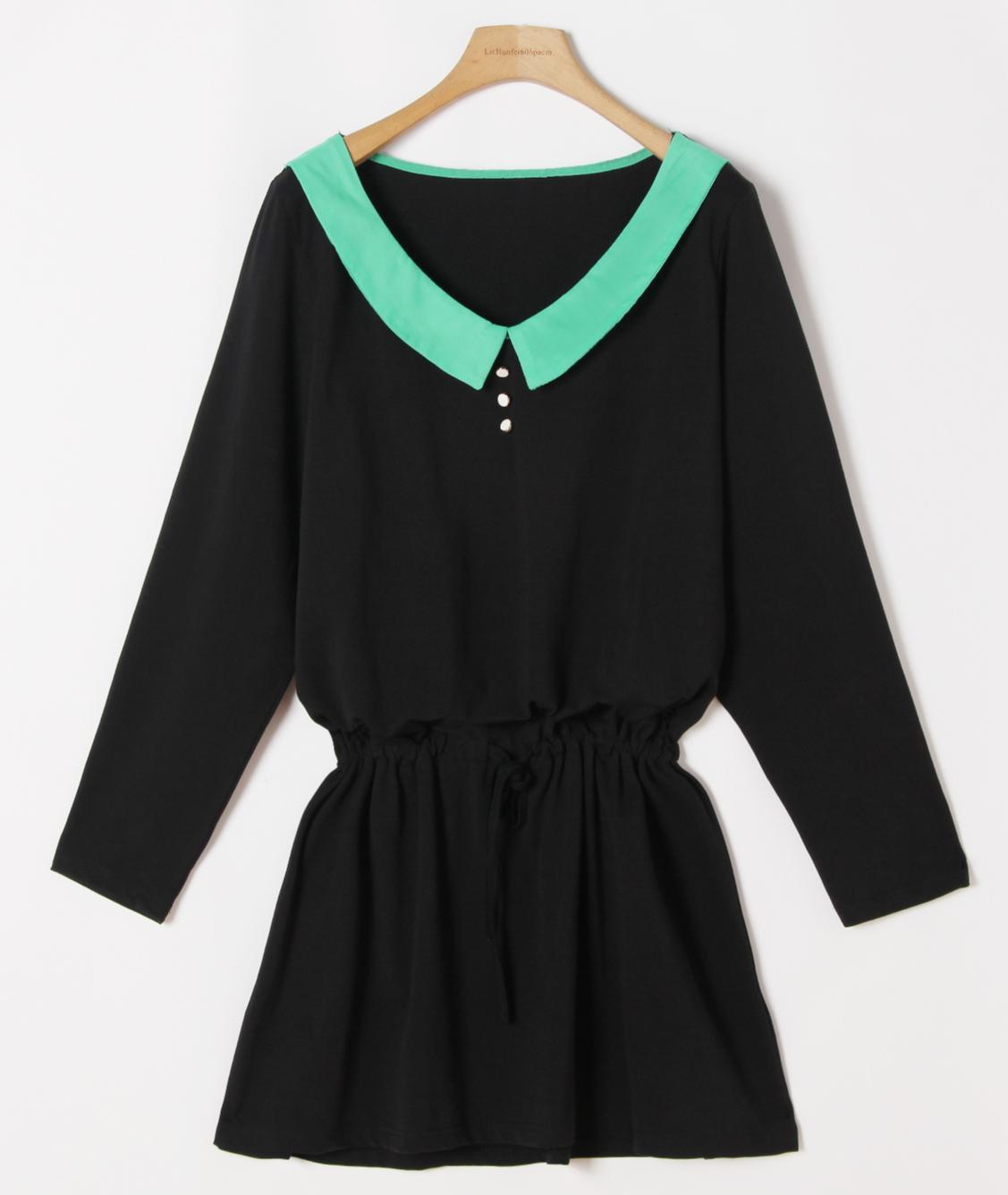 Весенний и осенний период вплоть до 2015 года Новый корейский темперамент Дамы платье женщин свободные тонкий похудения платья с длинным рукавом