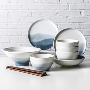 驼背雨奶奶日式瓷器套装家用陶瓷碗盘餐具创意二人食碗筷宜家碗碟