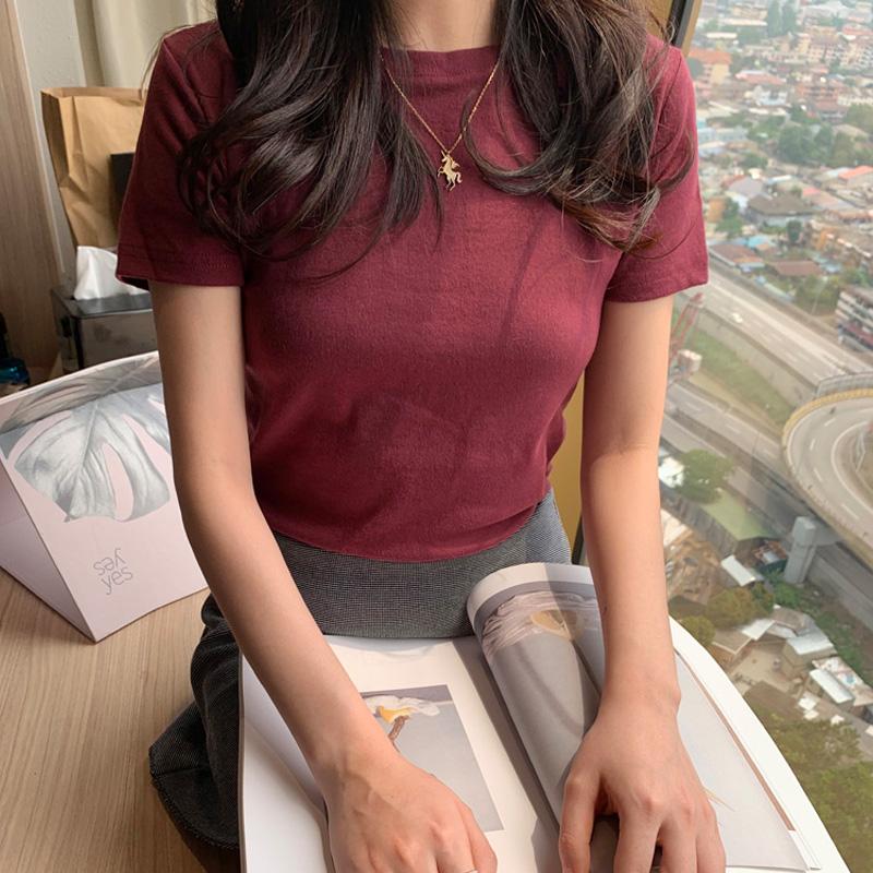 限时抢购2019夏装新款韩版百搭圆领纯色短袖t恤女修身显瘦纯棉上衣打底衫