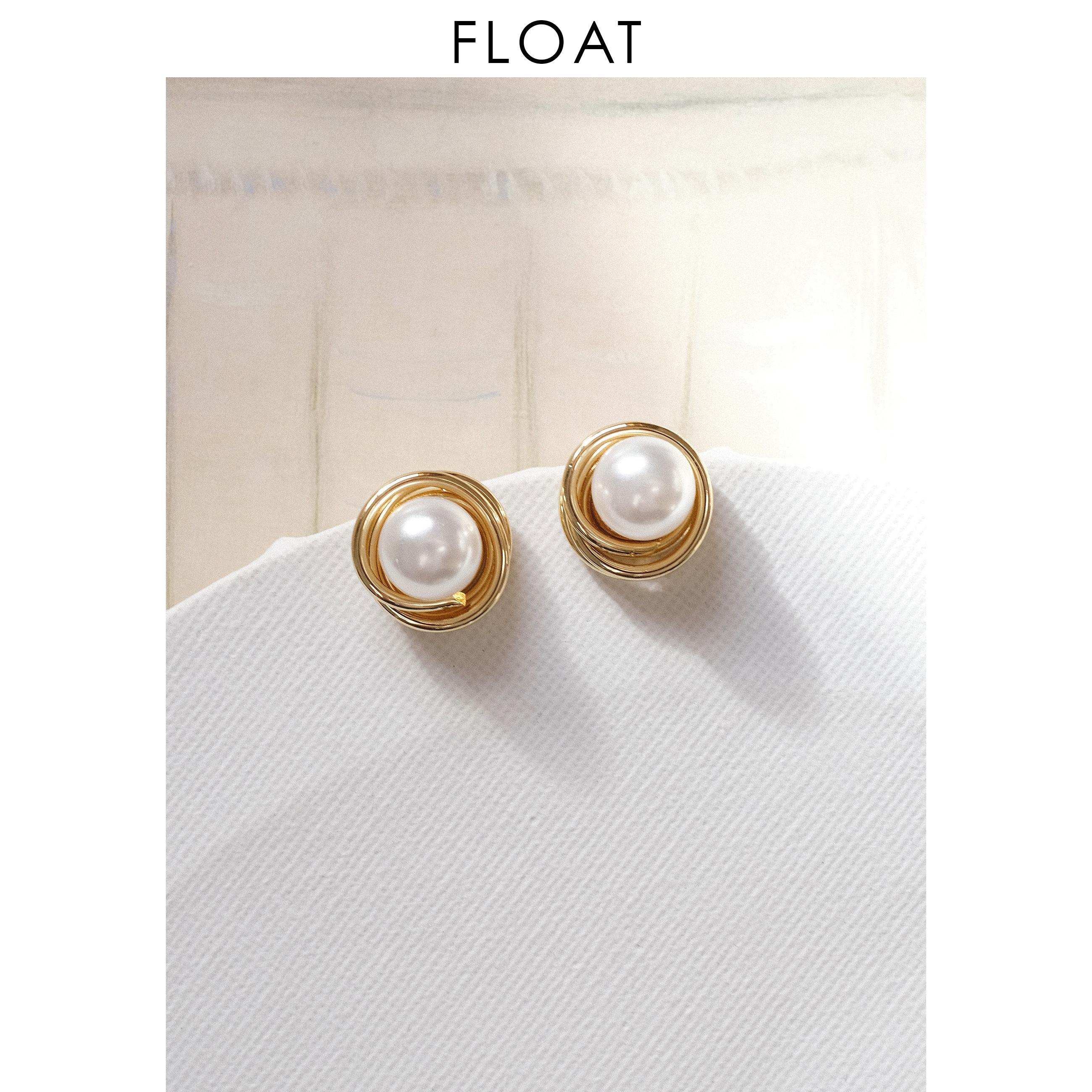 浮漾FLOAT 镀18K金缠绕立体复古港风赫本优雅珍珠耳环耳夹925银针图片