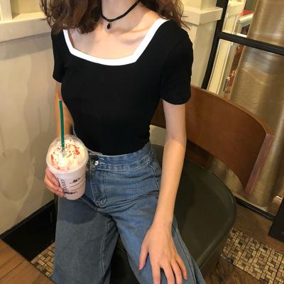 春夏季新款韩版女装大方领修身显瘦撞色百搭短袖t恤上衣打底衫
