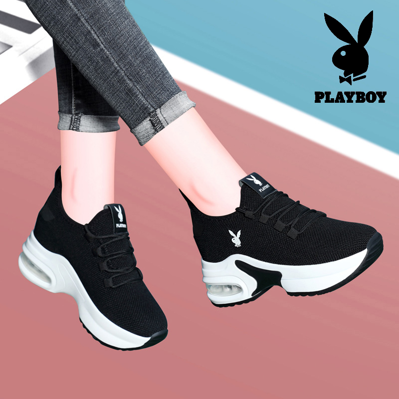 Playboy inner heightening womens shoes autumn and winter new sports shoes female student flat running shoes female versatile casual shoes