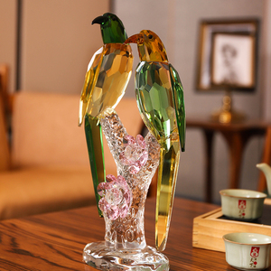 水晶鸟摆件喜鹊新婚礼物乔迁客厅酒柜装饰品小家居饰品工艺品摆件