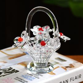 水晶花篮摆件客厅酒柜婚礼小礼品教师母亲节礼物梳妆台汽车装饰品图片