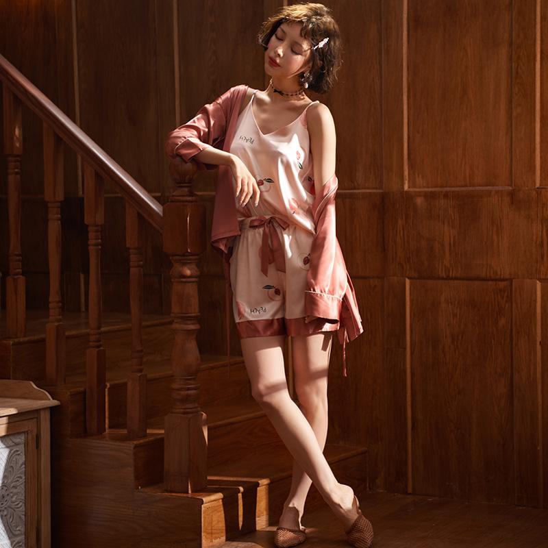 三件套夏冰丝薄款吊带短裤日系睡衣