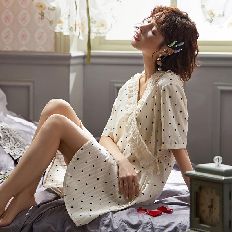 夏薄款梭织纯棉短袖可爱少女睡裙满168.00元可用70元优惠券