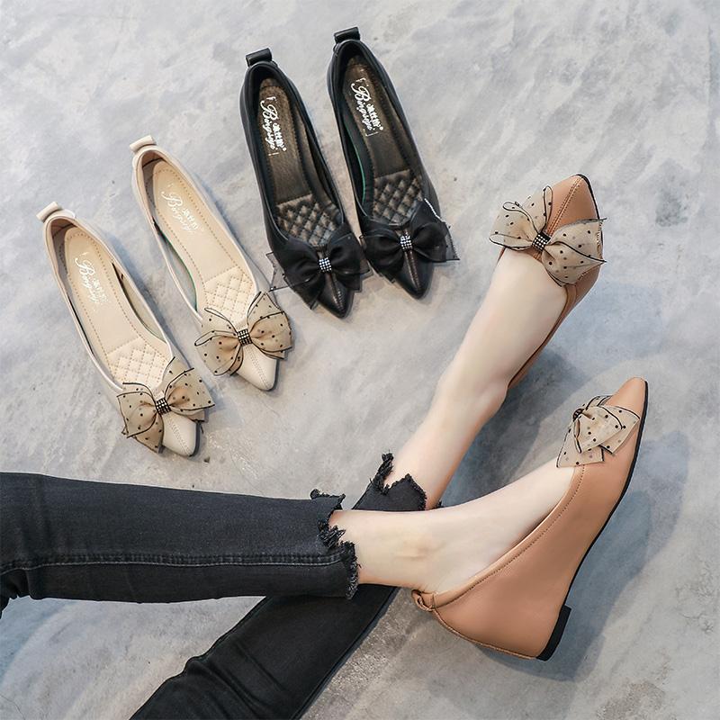 坡跟女2021新款浅口尖头蝴蝶结单鞋