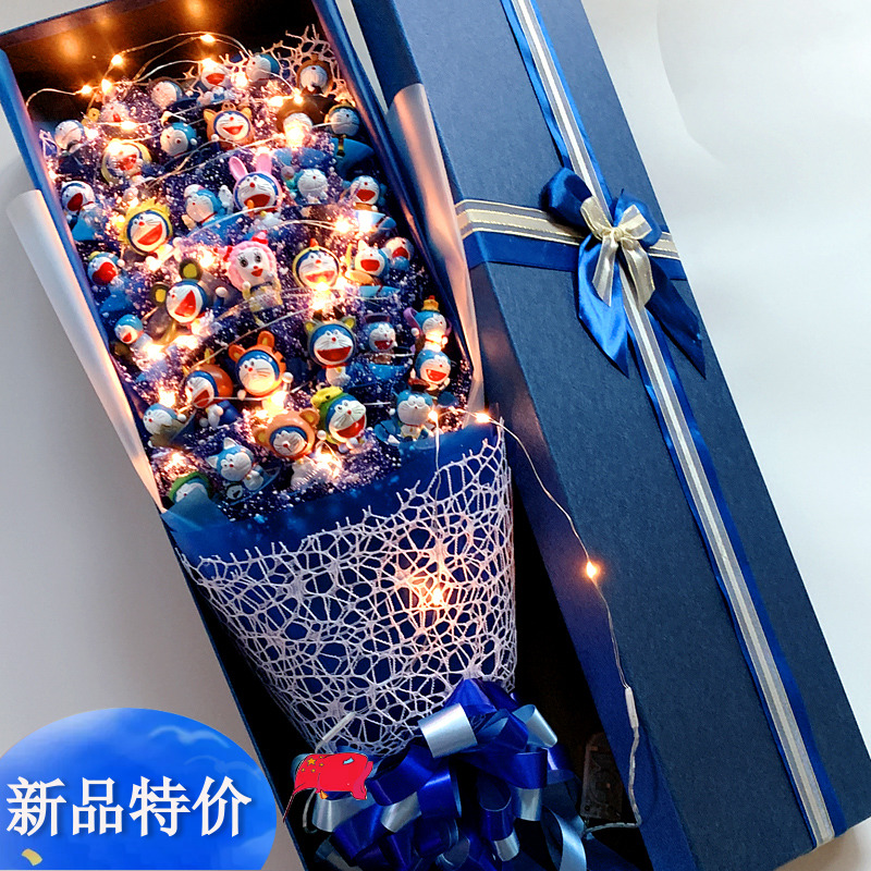 叮当猫花束礼盒卡通花束蓝胖子机器猫花束玩偶送女朋友同学礼物花