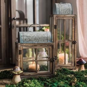 【掬涵】木灯笼 玻璃风灯 烛台装饰艺术摆件花园庭院复古怀旧铁艺