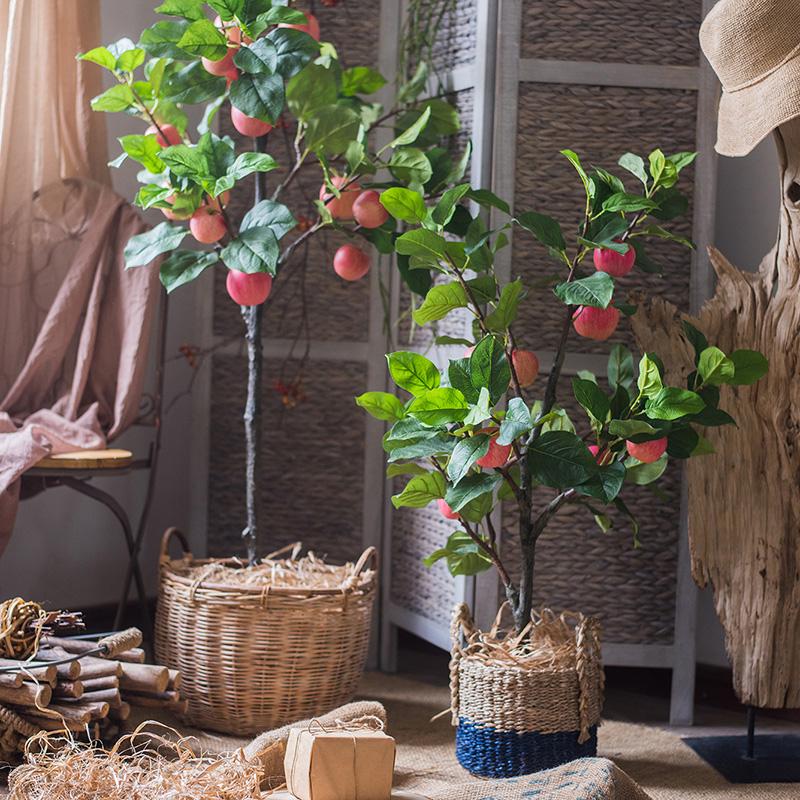 【掬涵】仿真苹果树盆景盆栽 装饰摆件 寓意果树平平安安节日礼物