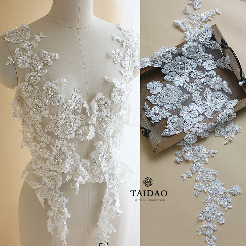 DIY手工辅料 婚纱礼服装饰蕾丝对花贴花H103后背蕾丝钉珠亮片朵花