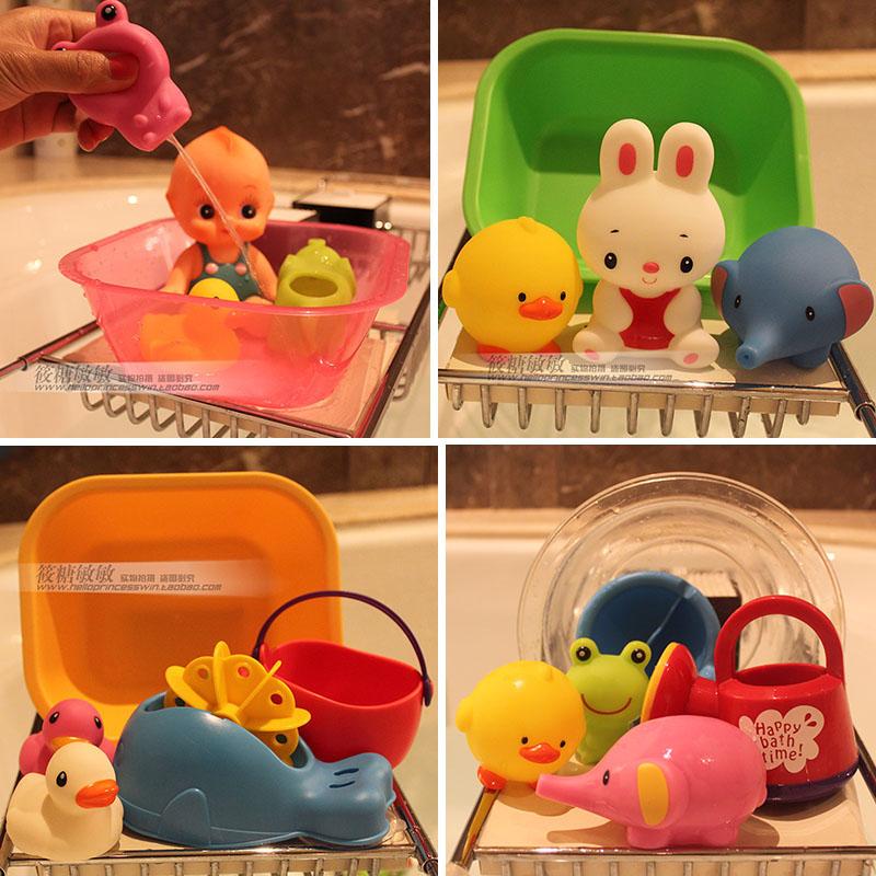 日本皇室戏水洗澡玩具软胶喷水婴幼儿童宝宝洗澡浴室捞鱼玩具套装